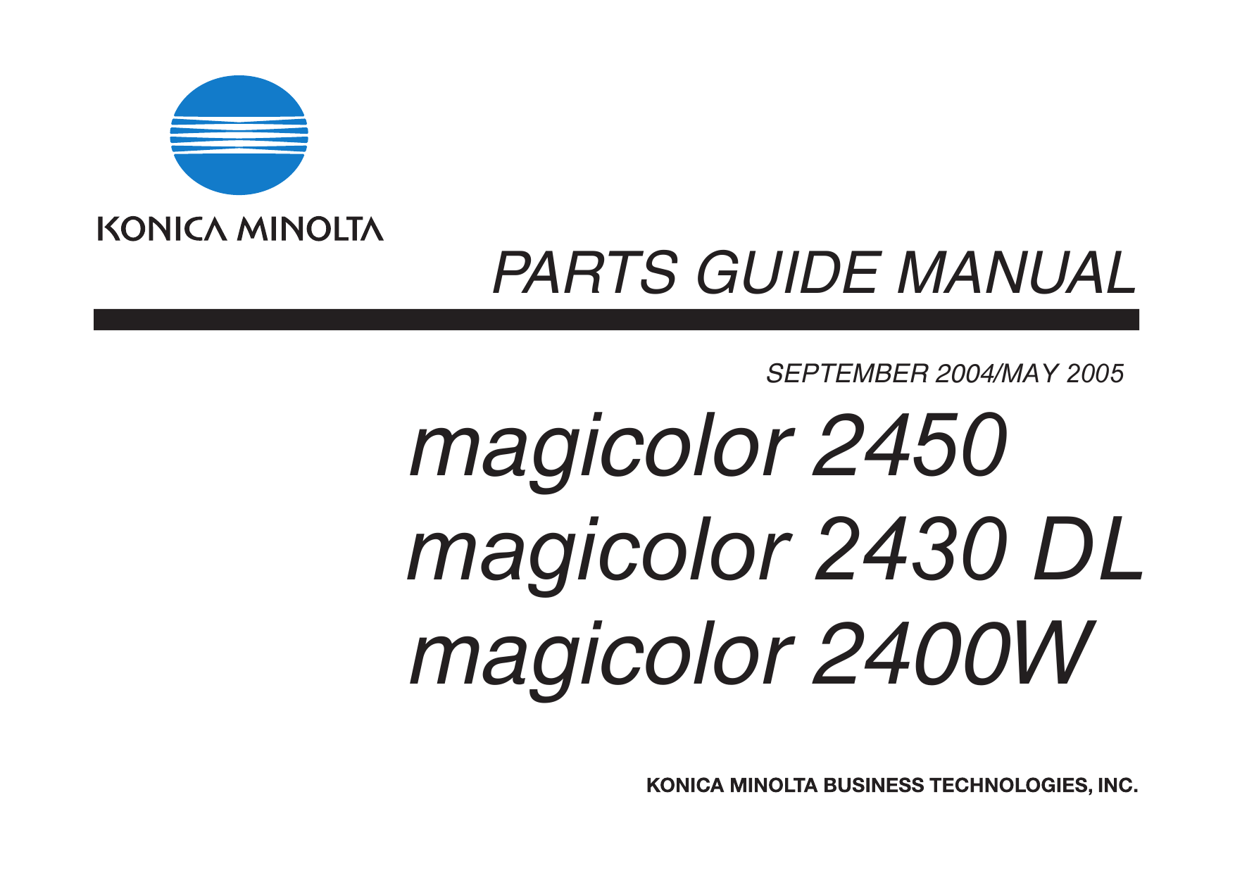 Konica-Minolta magicolor 2400W 2430DL 2450 Parts Manual
